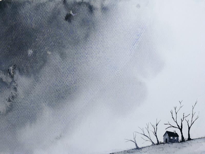 Maison isol?e de paysage et arbre mort dans la campagne devenir pour couvrir la nuit fonc?e illustration libre de droits