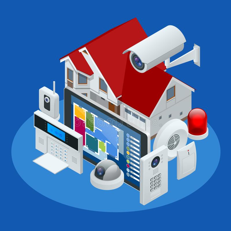 Maison isométrique de système d'alarme Garantie à la maison Clavier numérique d'alarme de sécurité avec Person Arming The System  illustration libre de droits