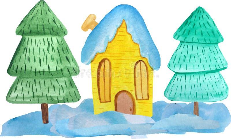 Maison jaune de Noël dans les congères et arbres sur un fond blanc illustration d'aquarelle pour des affiches, bannières An neuf photos libres de droits