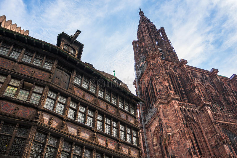 Maison Kammerzell and Cathedrale Notre Dame de Strasbourg. In Place Du March. Alsace, France royalty free stock photos