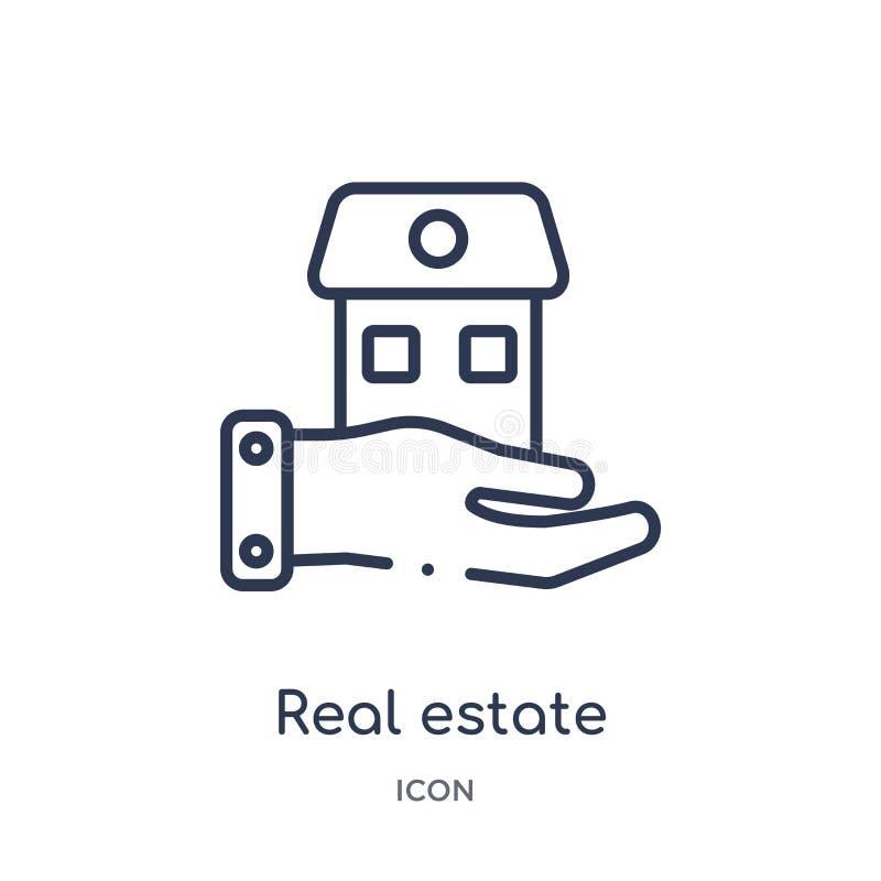 Maison linéaire d'entreprise immobilière sur une icône de main de collection d'ensemble d'affaires Ligne mince maison d'entrepris illustration de vecteur