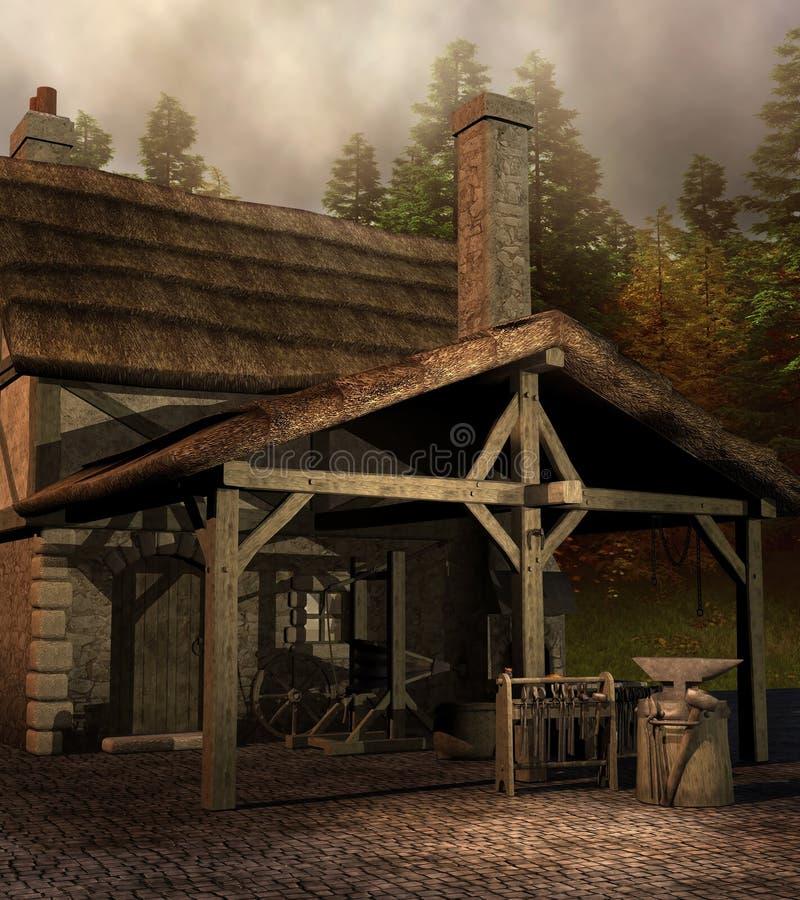 Maison médiévale de forgeron illustration libre de droits