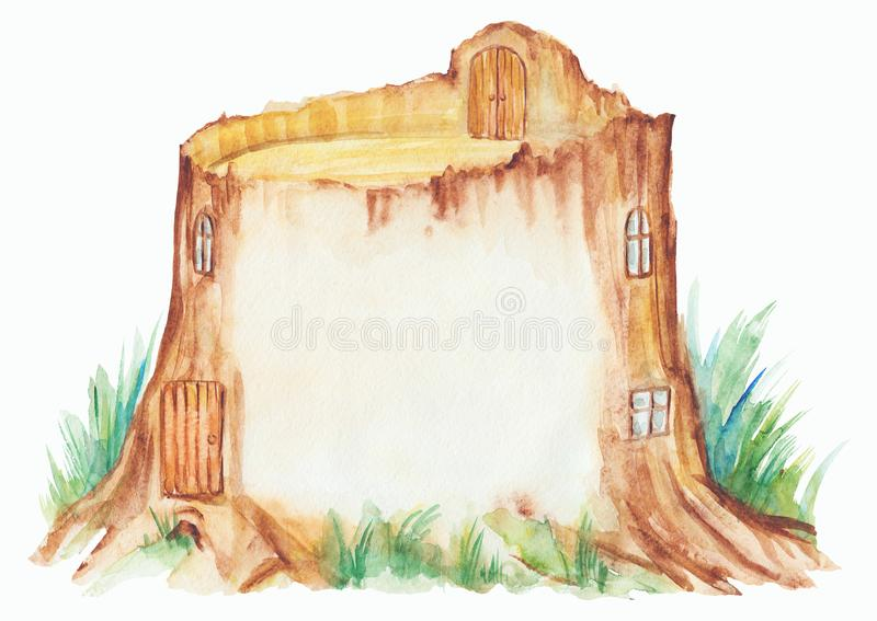 Maison magique de tronçon dans la forêt illustration de vecteur