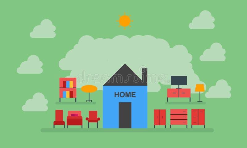 Maison, meubles, chaise, table, garde-robe, lumière, télévision, lit, maison douce à la maison illustration de vecteur