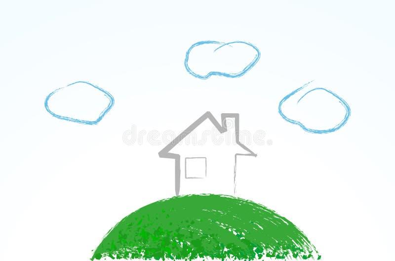 Maison mignonne d'eco illustration de vecteur