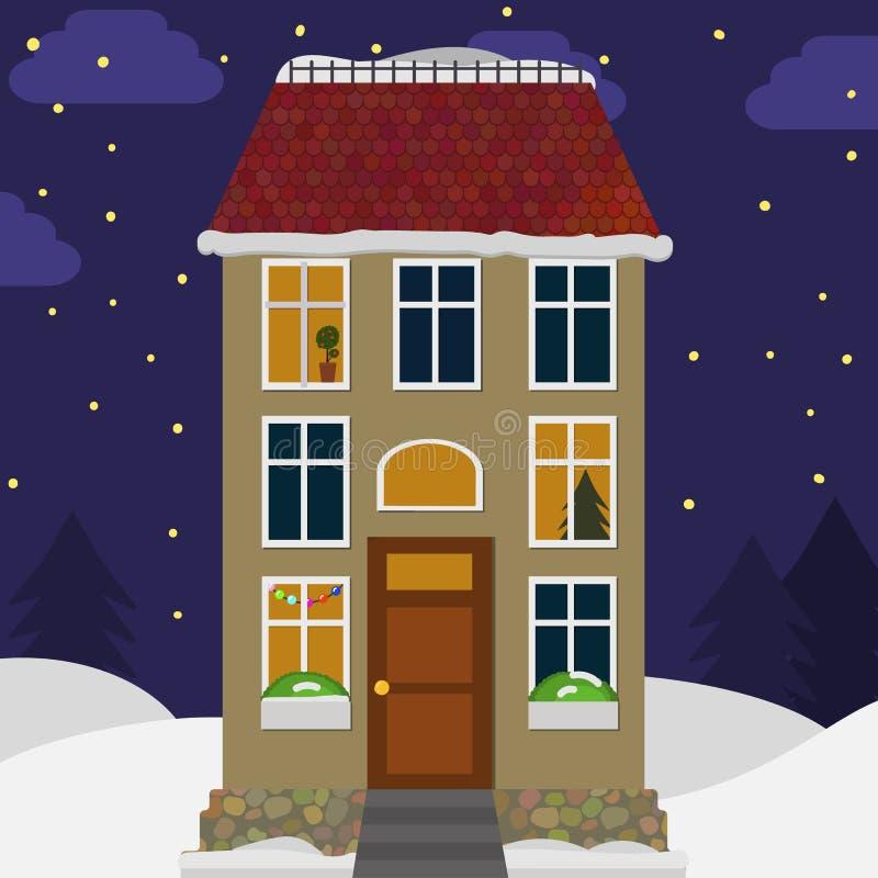 Maison mignonne dans la neige Fond de paysage de Noël avec le cottage images libres de droits