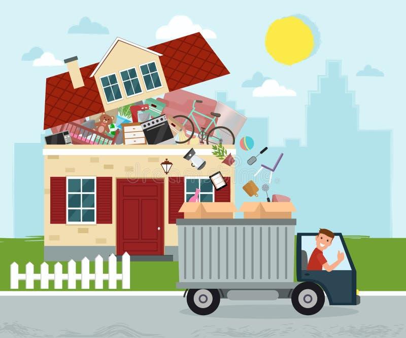 Maison mobile Personnel se déplaçant hors de la maison dans des boîtes dans le camion V illustration stock