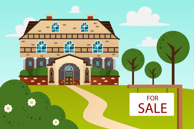 Maison moderne avec pour le signe de vente illustration de vecteur