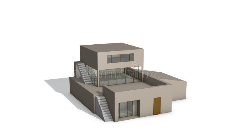 Maison moderne D'isolement sur le fond blanc illustr du rendu 3D illustration de vecteur