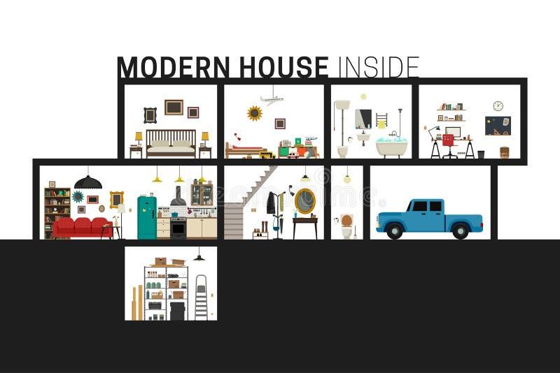 Maison moderne dans la coupe illustration stock