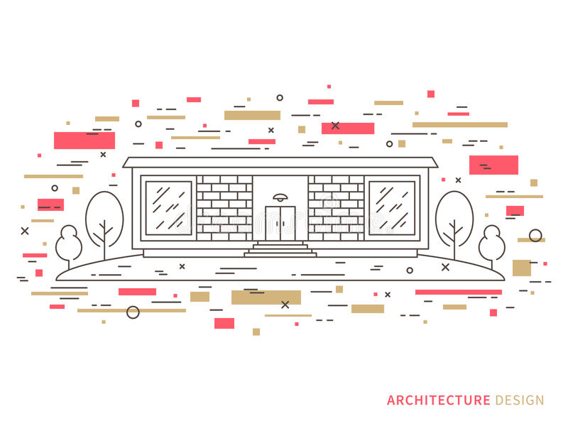 Maison moderne de brique de concepteur illustration libre de droits