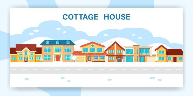 Maison moderne de cottage d'hiver illustration libre de droits