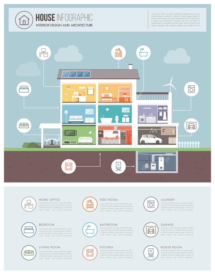 Maison moderne infographic illustration stock
