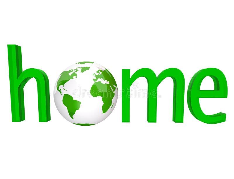 Maison - mot vert avec le globe de la terre illustration libre de droits