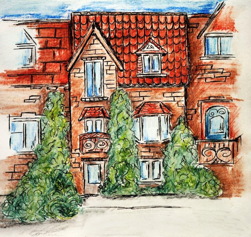 Maison multicolore de la brique de croquis de crayon d'art de conception des enfants de dessin de construction d'illustration illustration stock
