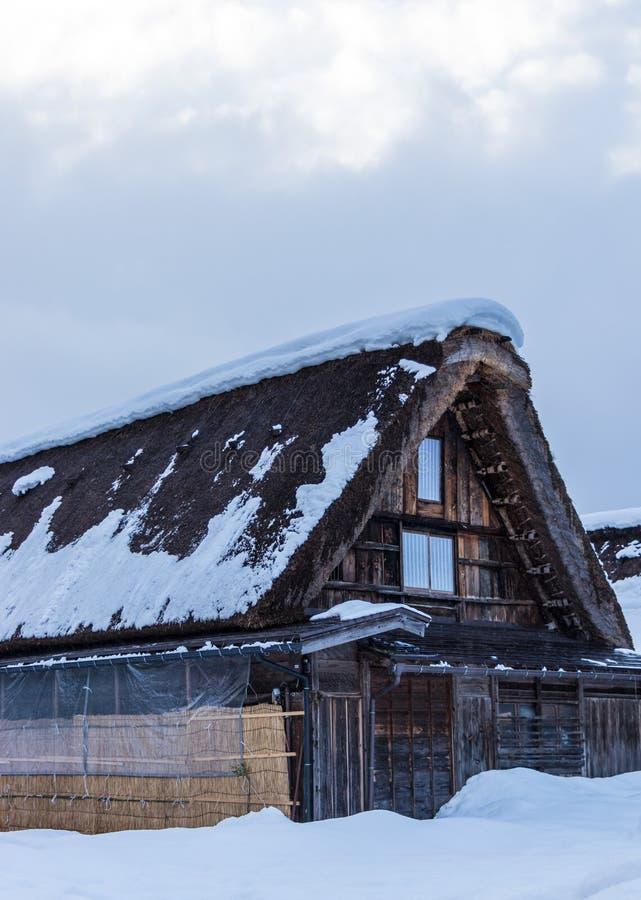 Maison, neige, Shirakawago image stock