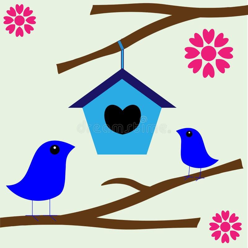 Maison neuve d'emboîtement d'amour d'oiseau illustration de vecteur