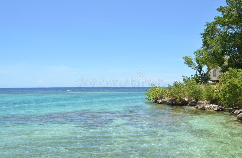 Maison nichée dans les arbres le long du littoral jamaïcain image libre de droits