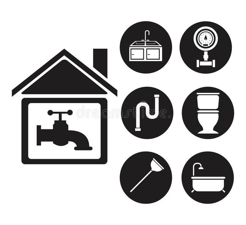 Maison noire de silhouette avec des icônes de robinet et d'ensemble mettant d'aplomb illustration de vecteur