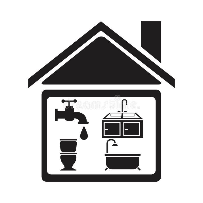 Maison noire de silhouette avec la salle de bains d'éléments pour mettre d'aplomb illustration stock