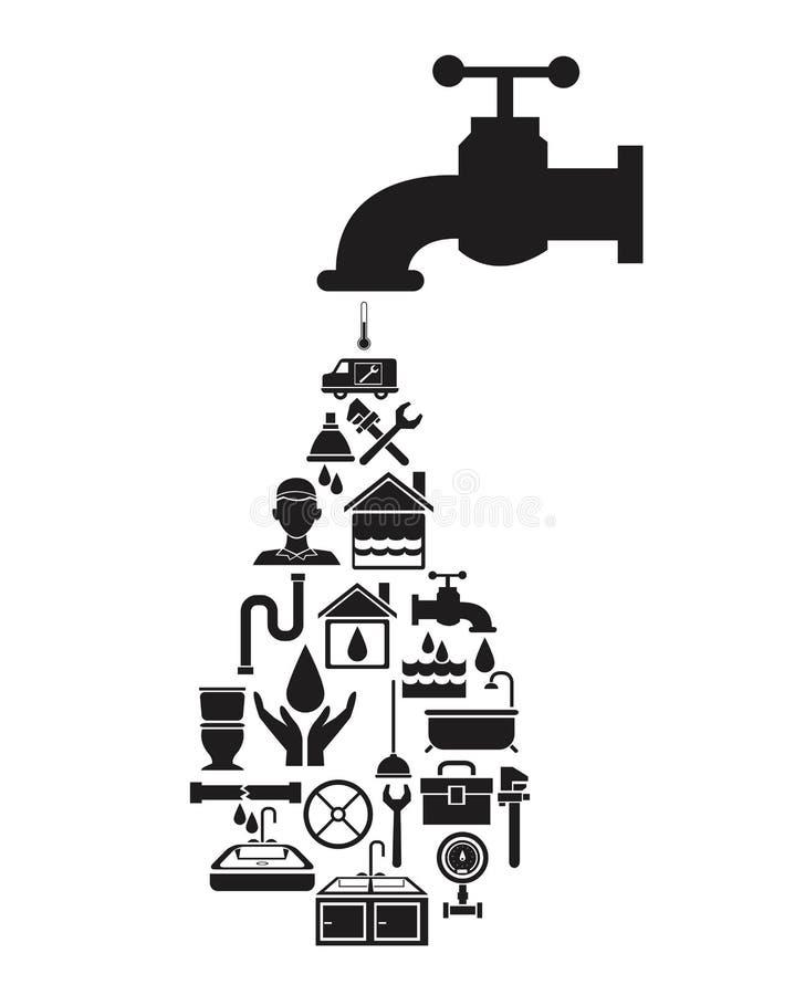 Maison noire de silhouette avec le robinet avec les éléments en forme de baisse de tuyauterie illustration de vecteur