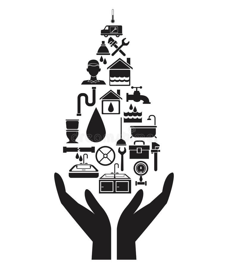 Maison noire de silhouette avec les éléments en forme de baisse de tuyauterie tenant pour des mains illustration libre de droits