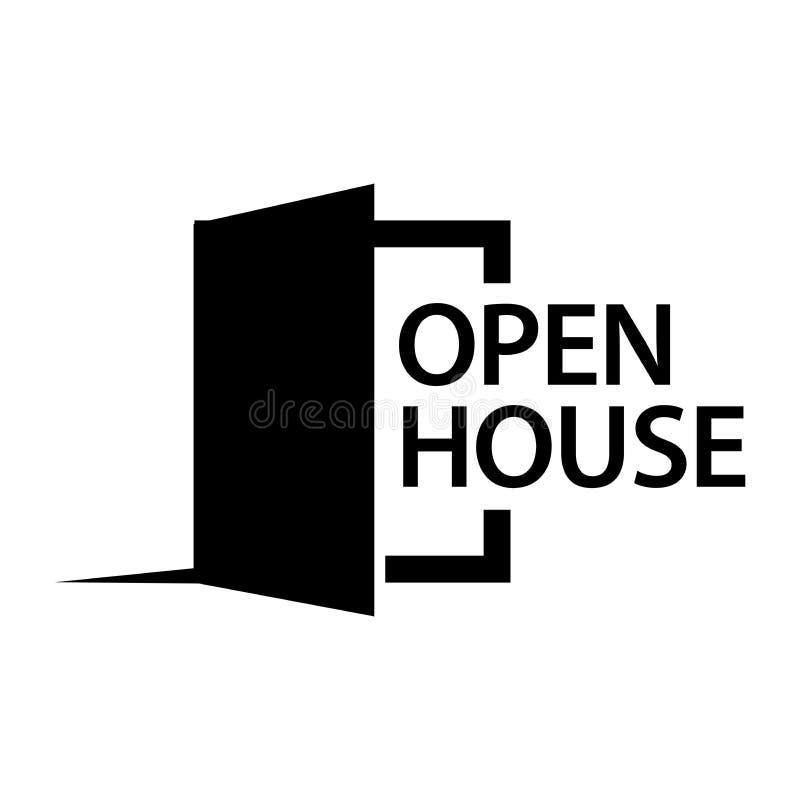 Maison ouverte avec l'icône d'actions de porte ouverte, conception plate illustration stock