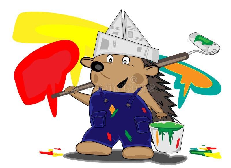 Maison-peintre de hérisson illustration libre de droits
