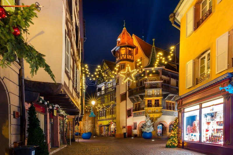 Maison Pfister at night in Colmar, Alsace, France stock images