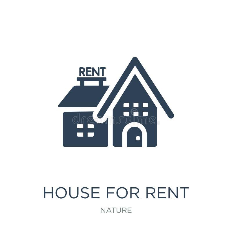 maison pour l'icône de loyer dans le style à la mode de conception Chambre pour l'icône de loyer d'isolement sur le fond blanc ma illustration stock