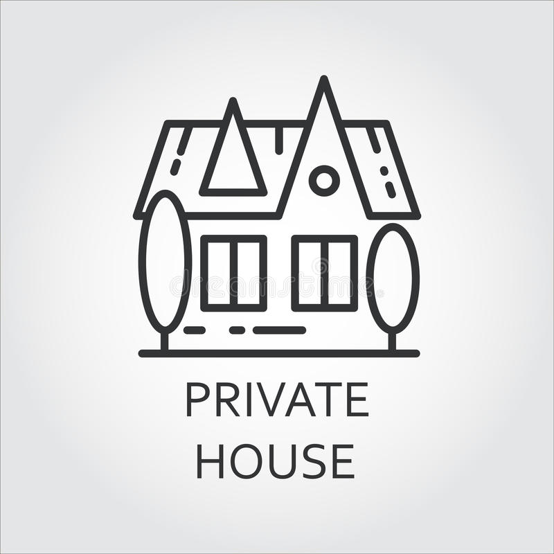 Maison privée d'icône dessinée dans le style d'ensemble Label linéaire simple illustration libre de droits