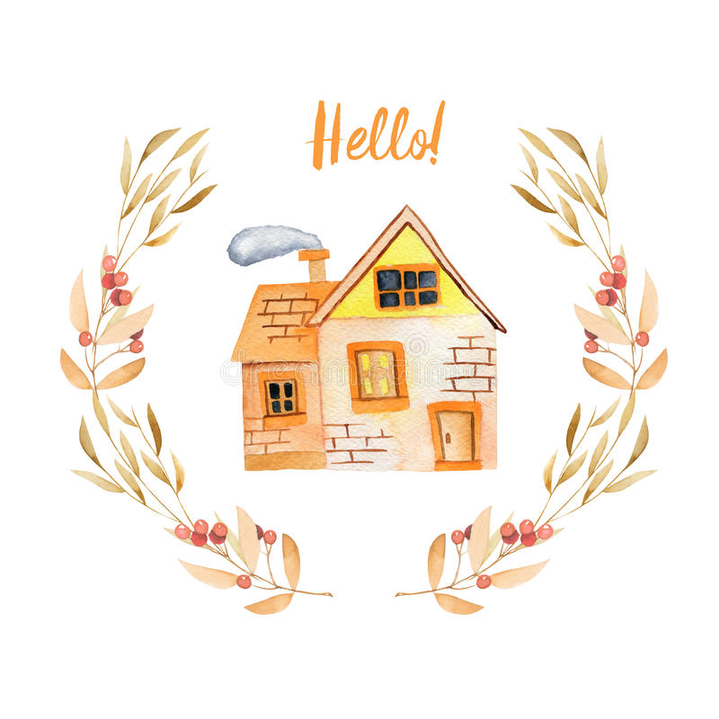 Maison privée de bande dessinée d'aquarelle à l'intérieur de guirlande florale aux nuances d'automne illustration libre de droits