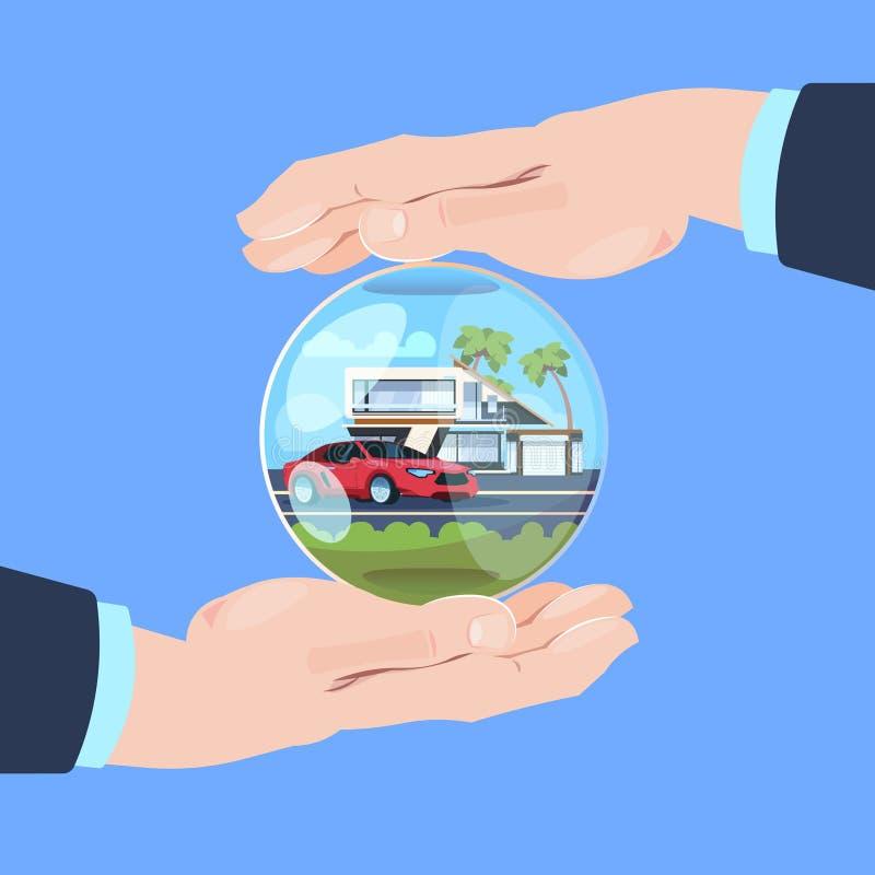 Maison protectrice de voiture de bulle de geste de main de service d'assurance sur le fond bleu plat illustration de vecteur