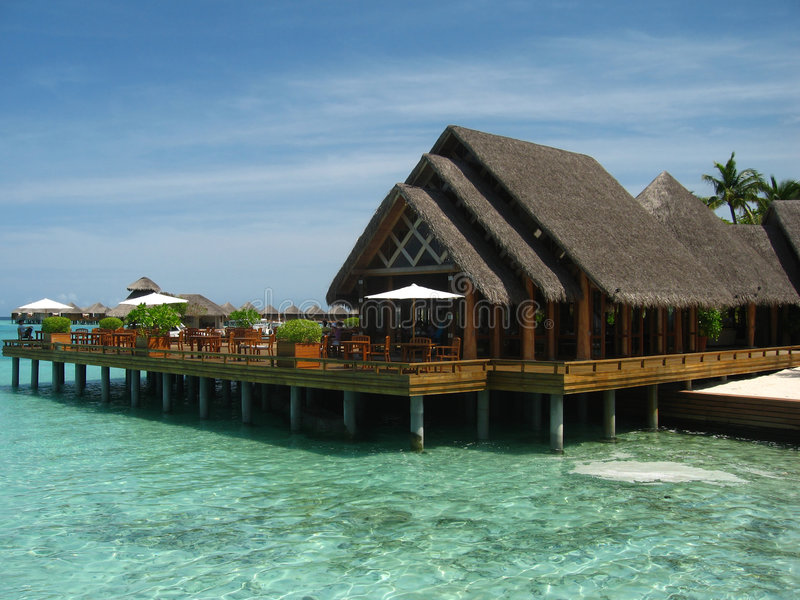 maison rêvante Maldives de plage photographie stock