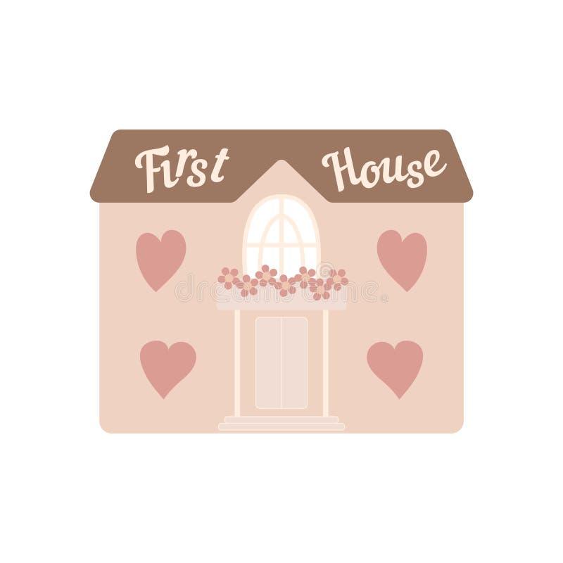 Maison rose de mariage pour des nouveaux mariés avec des coeurs de fenêtres illustration stock