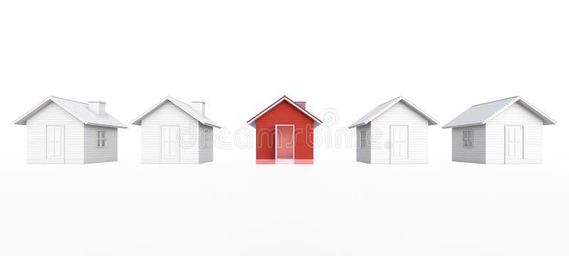 Maison rouge dans l'image et l'ensemble immobilier privé de propriété d'immobiliers illustration libre de droits