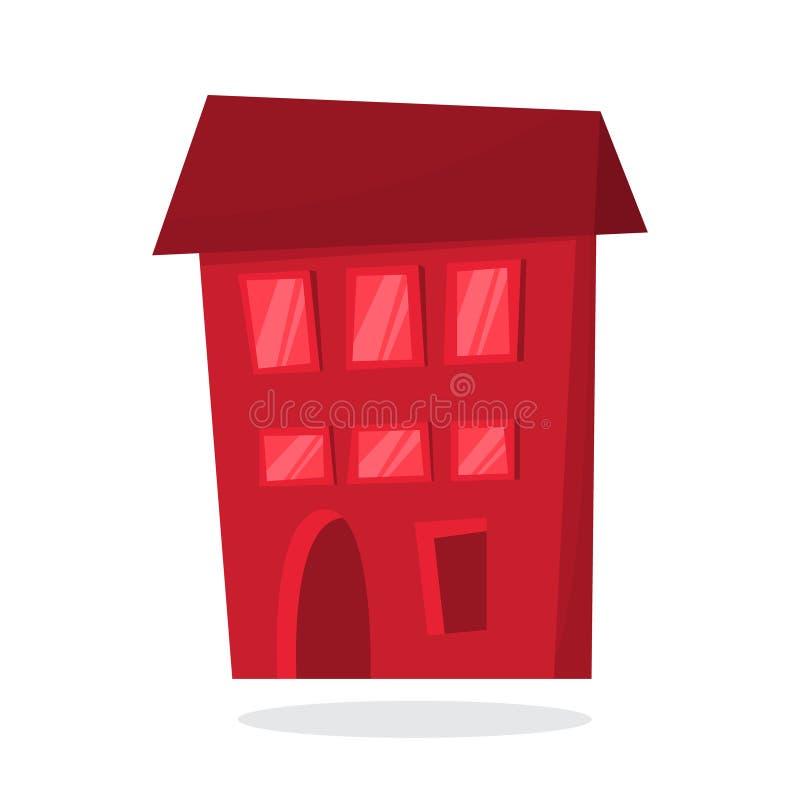 Maison rouge de papier de Noël Bâtiment mignon appartement illustration libre de droits