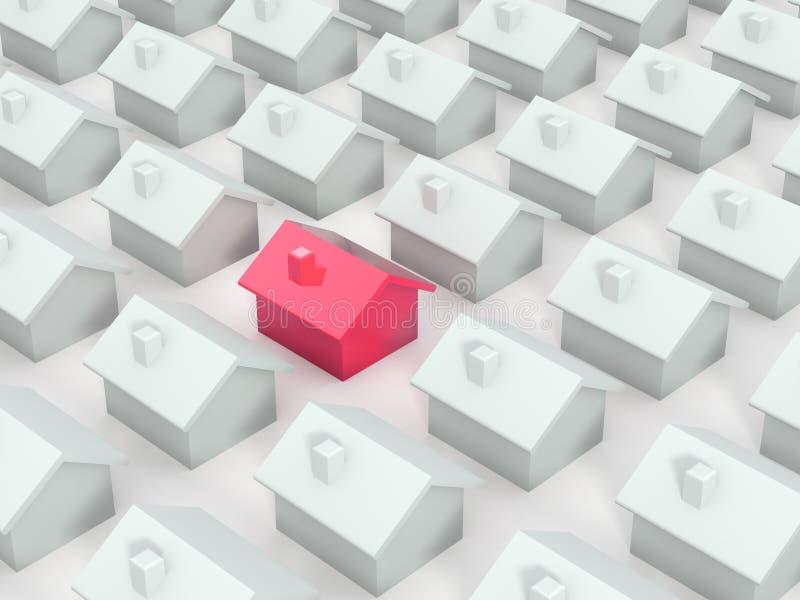 Maison rouge différente illustration libre de droits