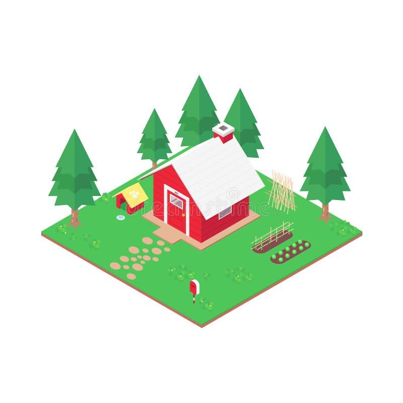 Maison rouge isométrique, vecteur illustration de vecteur