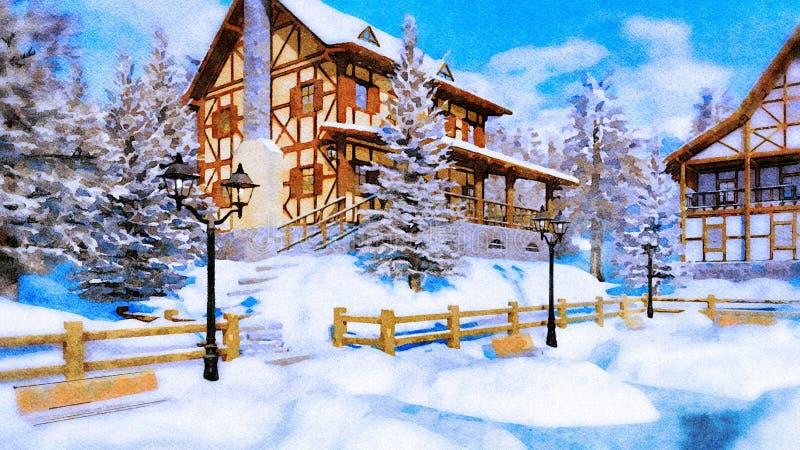 Maison rurale à colombage à l'aquarelle de jour d'hiver illustration libre de droits