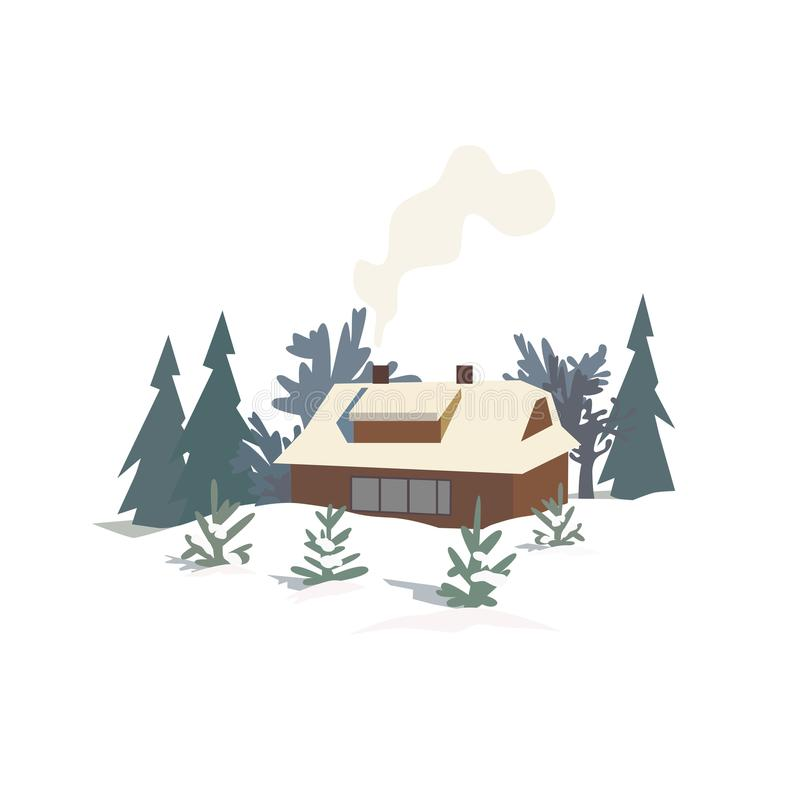 Maison rurale en bois neigeux illustration de vecteur