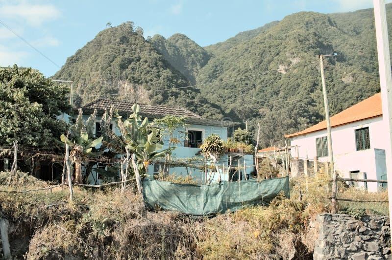 Maison rurale isolée dans un endroit tropical avec des palmiers dans le jardin Madère, Portugal images libres de droits