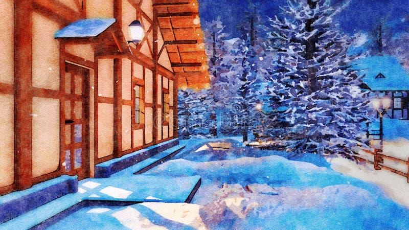 Maison rurale la nuit neigeux hiver dans l'aquarelle image stock