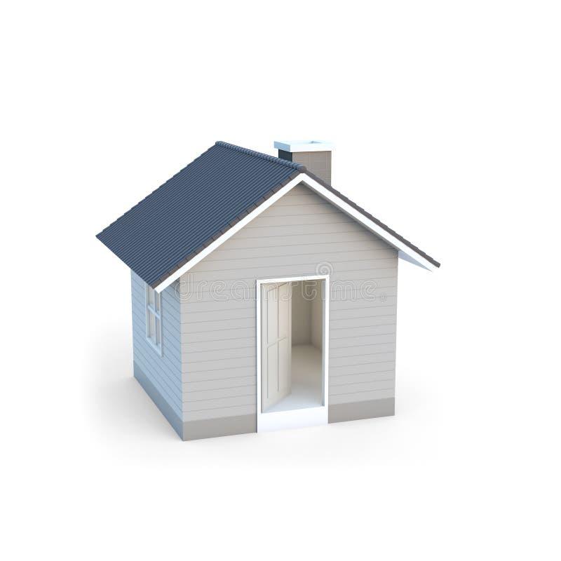 Maison simple dans des mains humaines Idée d'image de concept d'immobiliers et de propriété illustration de vecteur