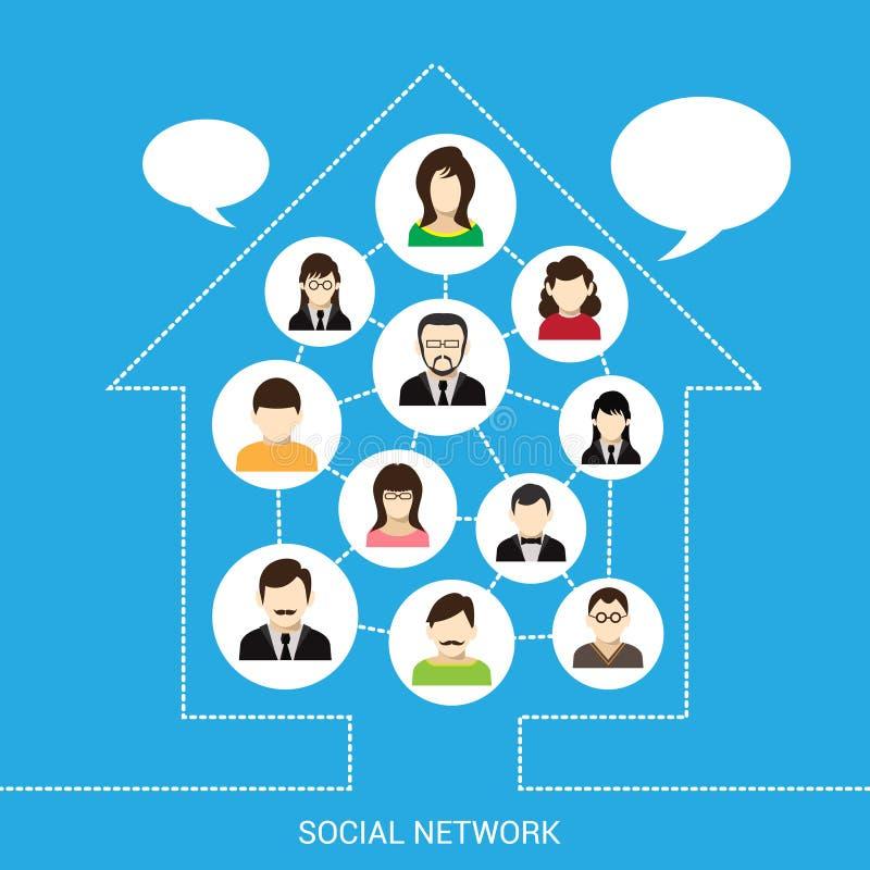 Maison sociale de réseau illustration de vecteur