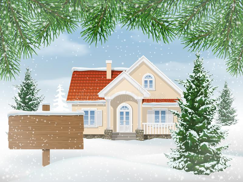 Maison suburbaine dans la neige et signe à vendre illustration libre de droits