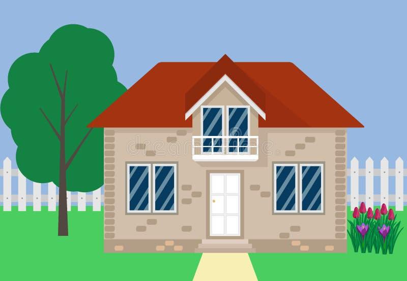 Maison suburbaine privée avec une clôture blanche, un arbre, un lit de fleur Illustration de vecteur dans le style plat illustration stock