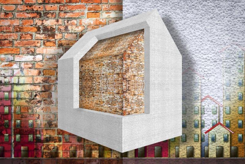Maison thermiquement isolée avec des panneaux de polystyrène - le rendement énergétique 3D de bâtiments rendent l'image de concep photographie stock libre de droits