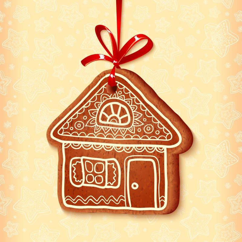 Maison traditionnelle de bonbon à Noël de vecteur fleuri illustration libre de droits