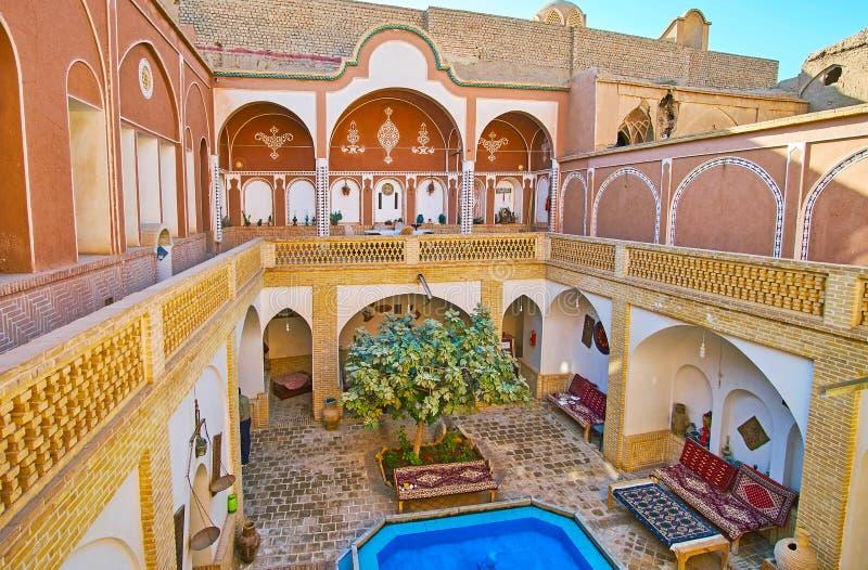 Maison traditionnelle de cour, Kashan, Iran photos stock